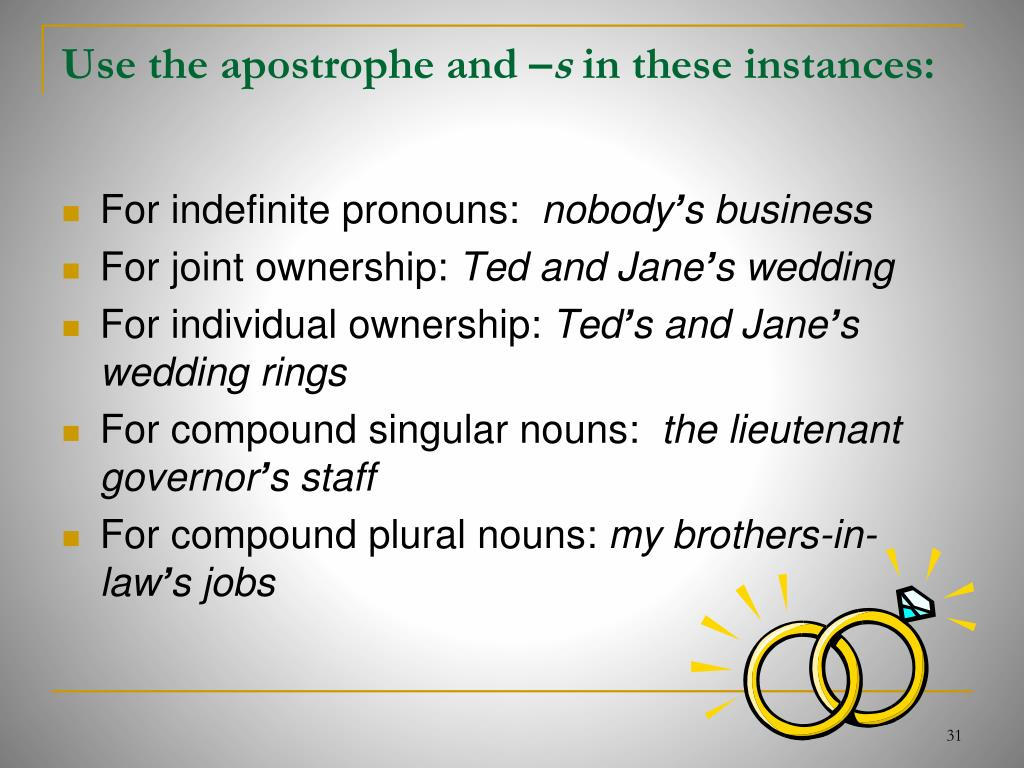 Use the apostrophe and –