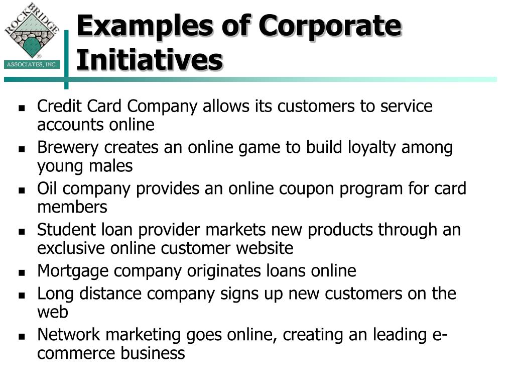 Examples of Corporate Initiatives