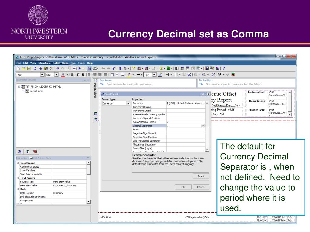 Currency Decimal set as Comma