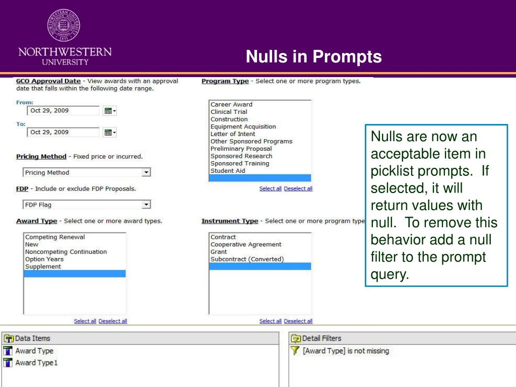 Nulls in Prompts