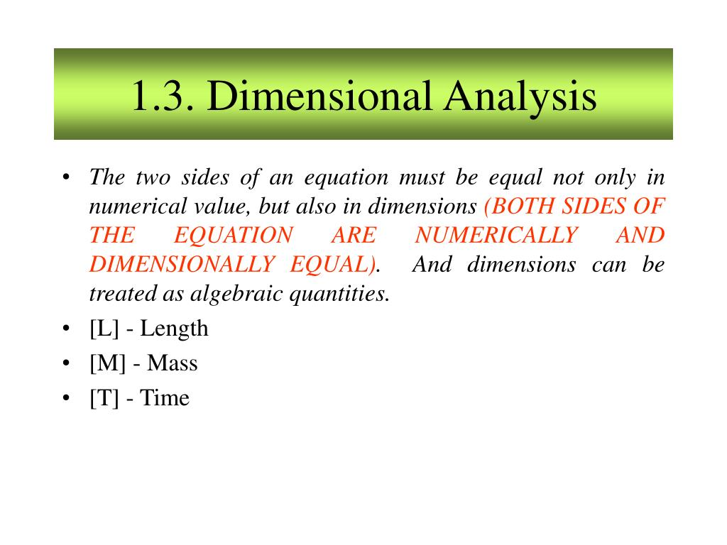 1.3. Dimensional Analysis