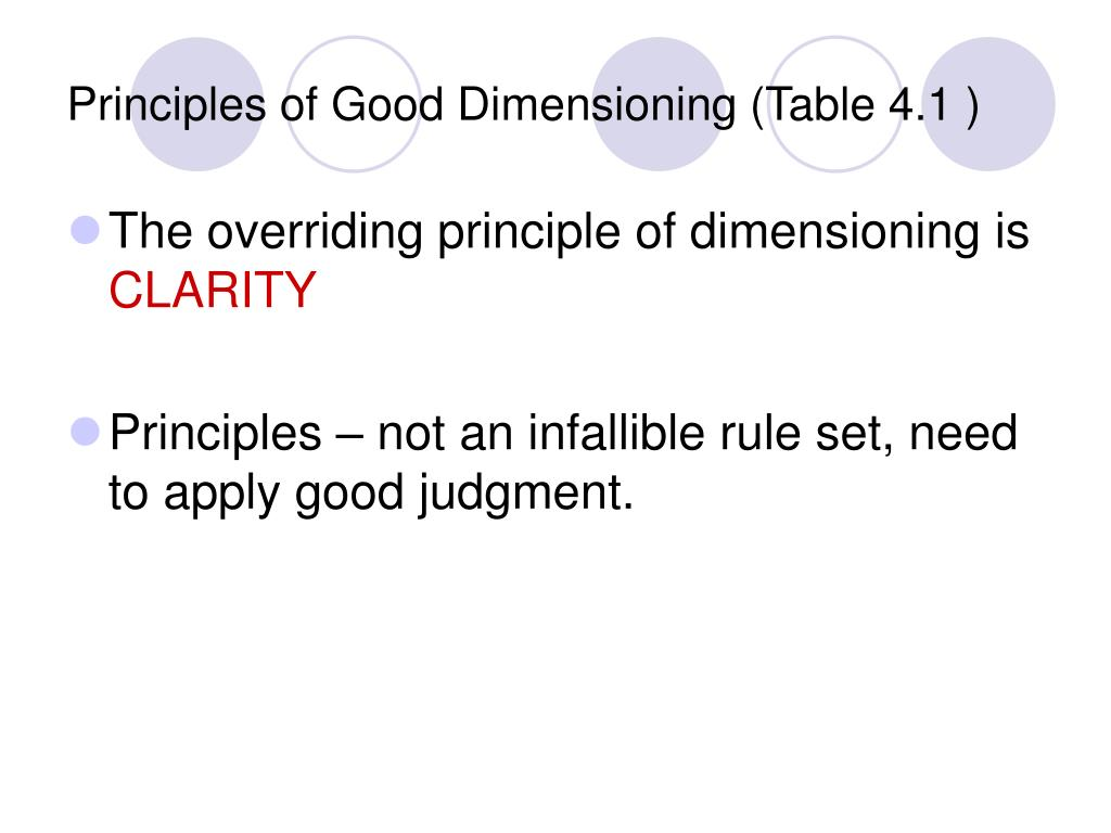 Principles of Good Dimensioning (Table 4.1 )