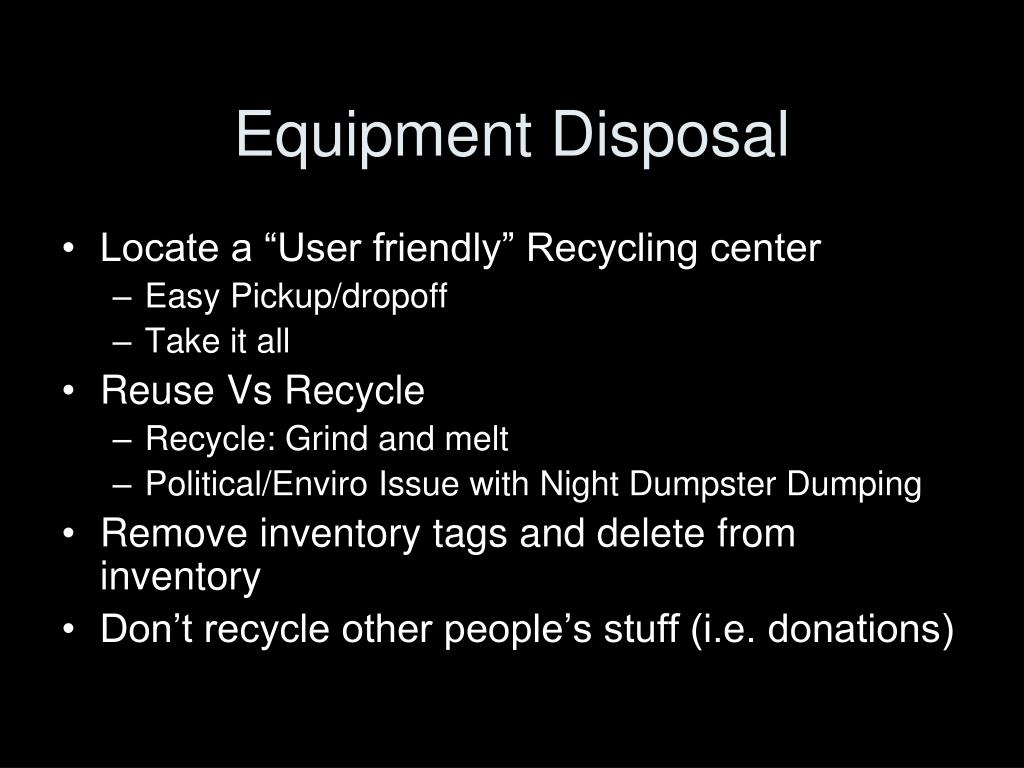 Equipment Disposal
