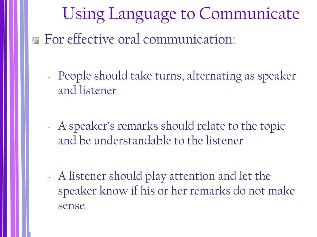 Using Language to Communicate
