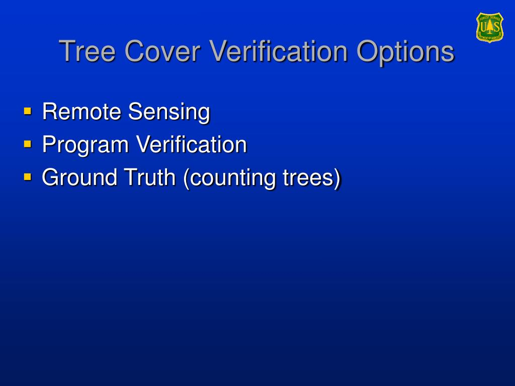 Tree Cover Verification Options