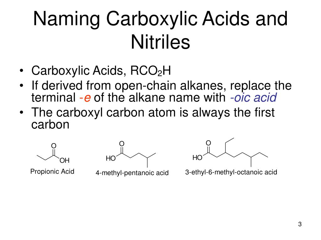 Naming Carboxylic Acids and Nitriles