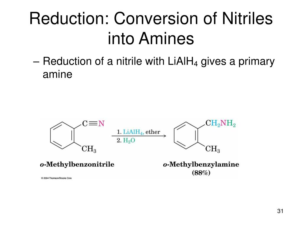 Reduction: Conversion of Nitriles into Amines