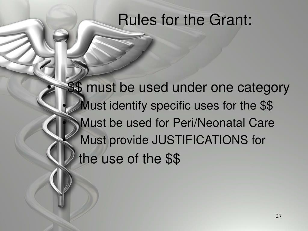 Rules for the Grant: