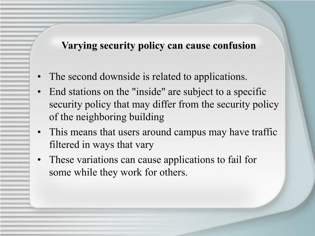 Varying security policy can cause confusion