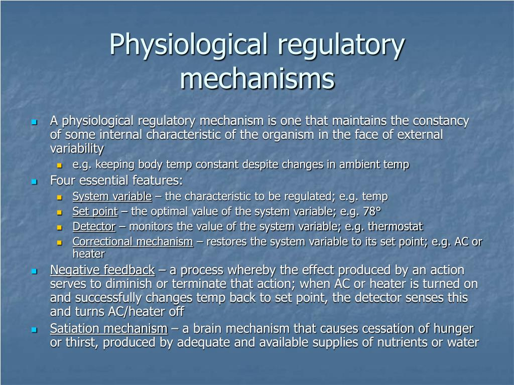Physiological regulatory mechanisms