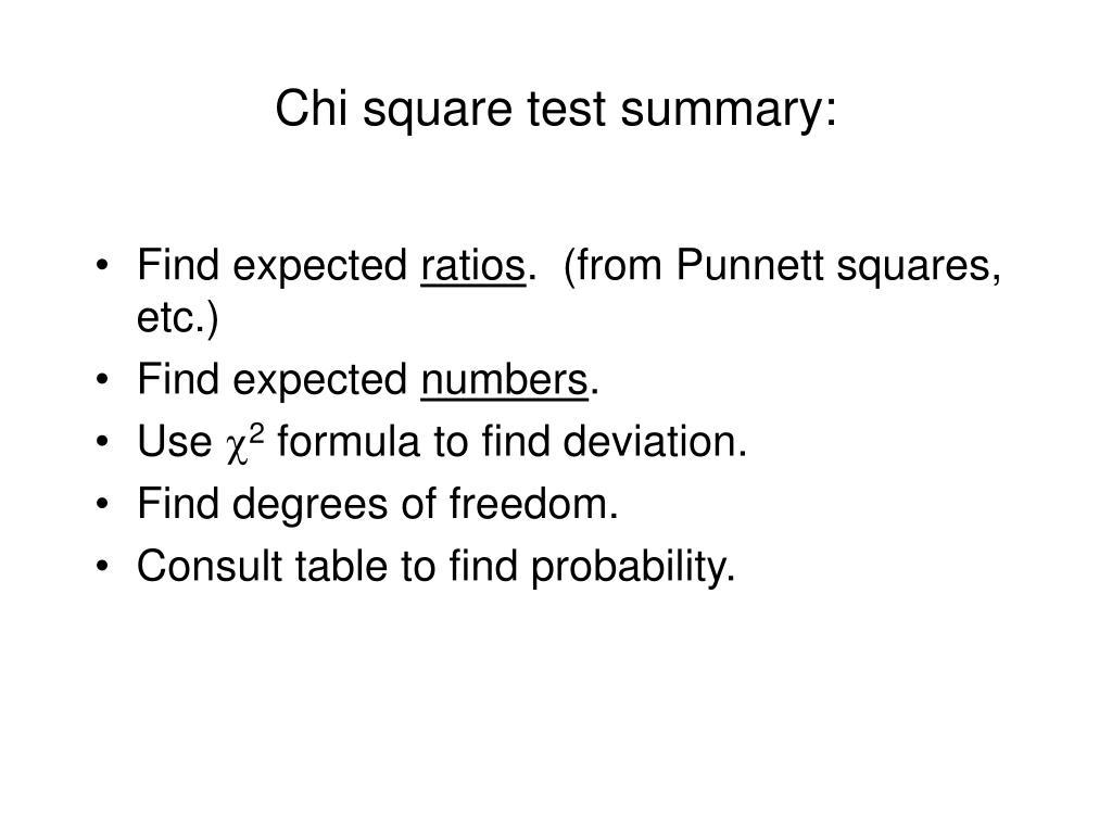 Chi square test summary: