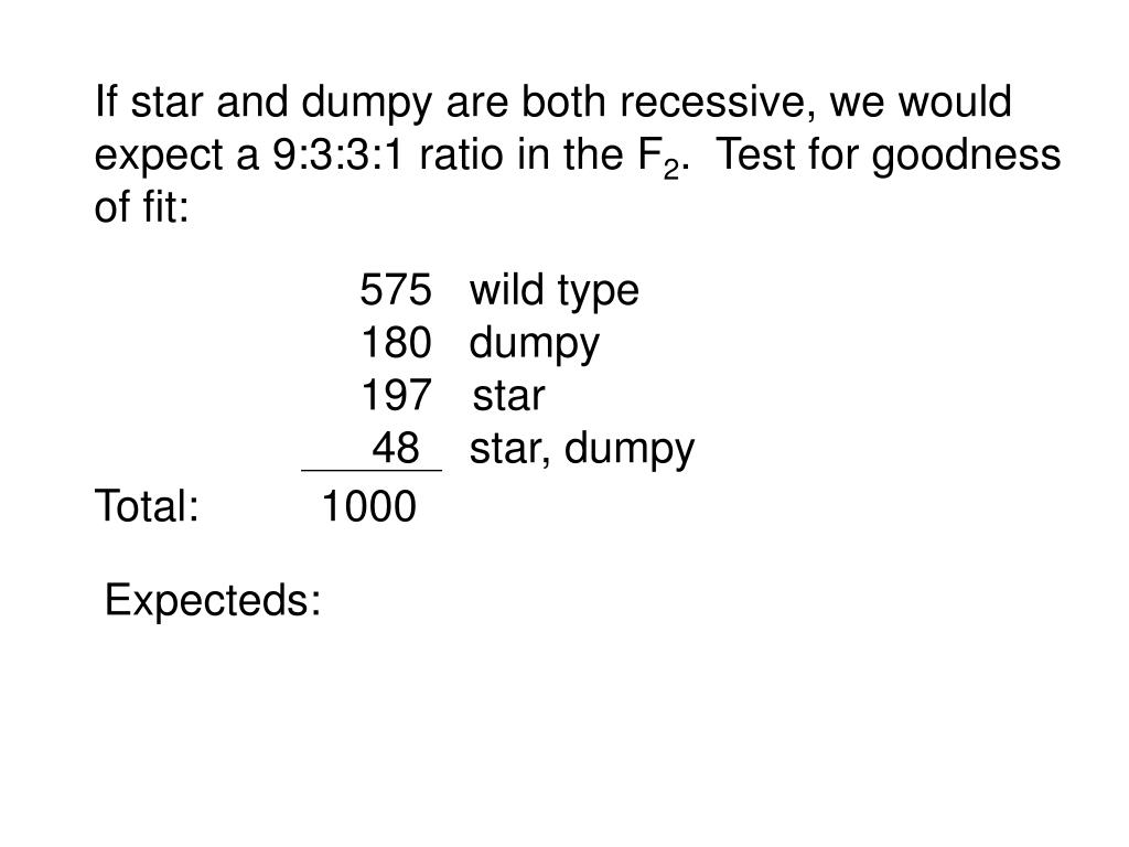 If star and dumpy are both recessive, we would