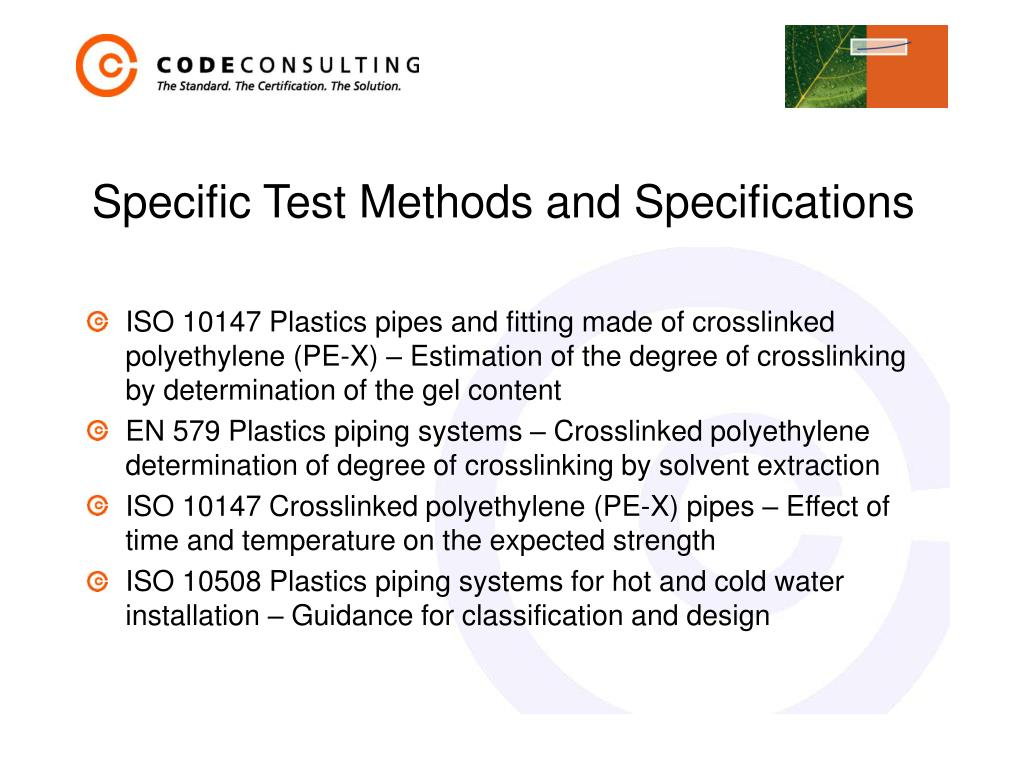 Specific Test Methods and Specifications