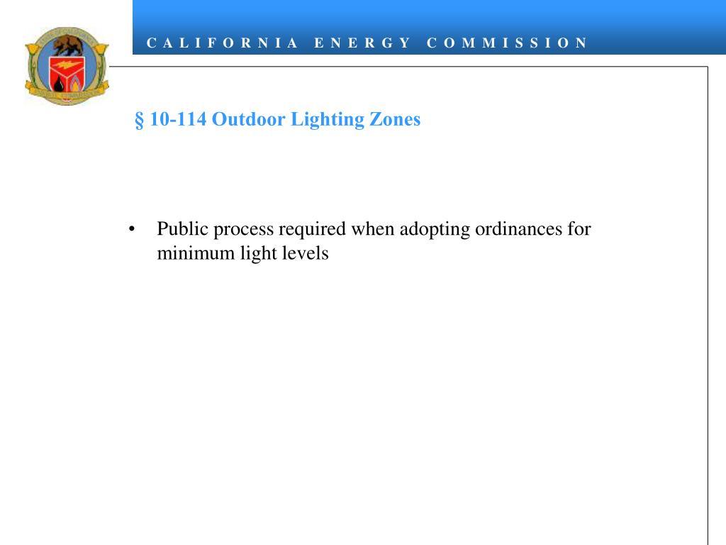 § 10-114 Outdoor Lighting Zones