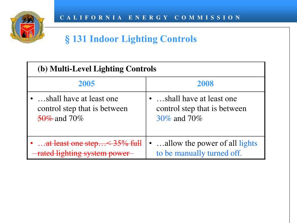 § 131 Indoor Lighting Controls