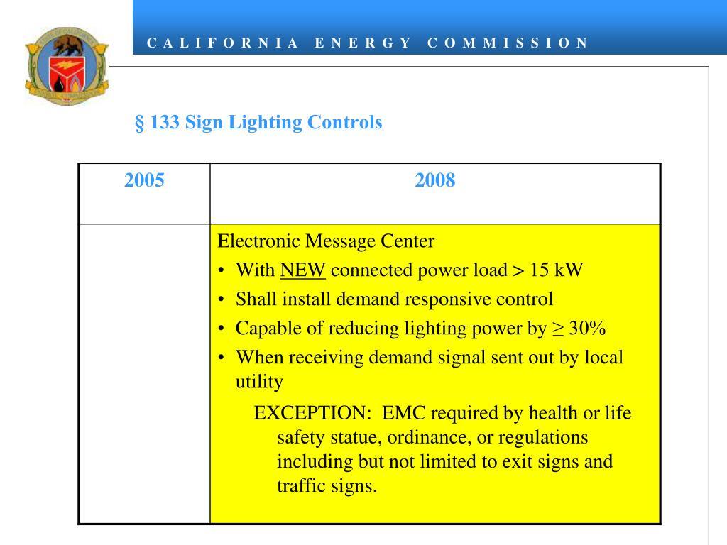 § 133 Sign Lighting Controls