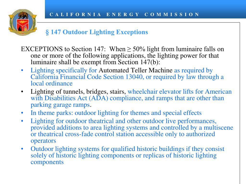 § 147 Outdoor Lighting Exceptions