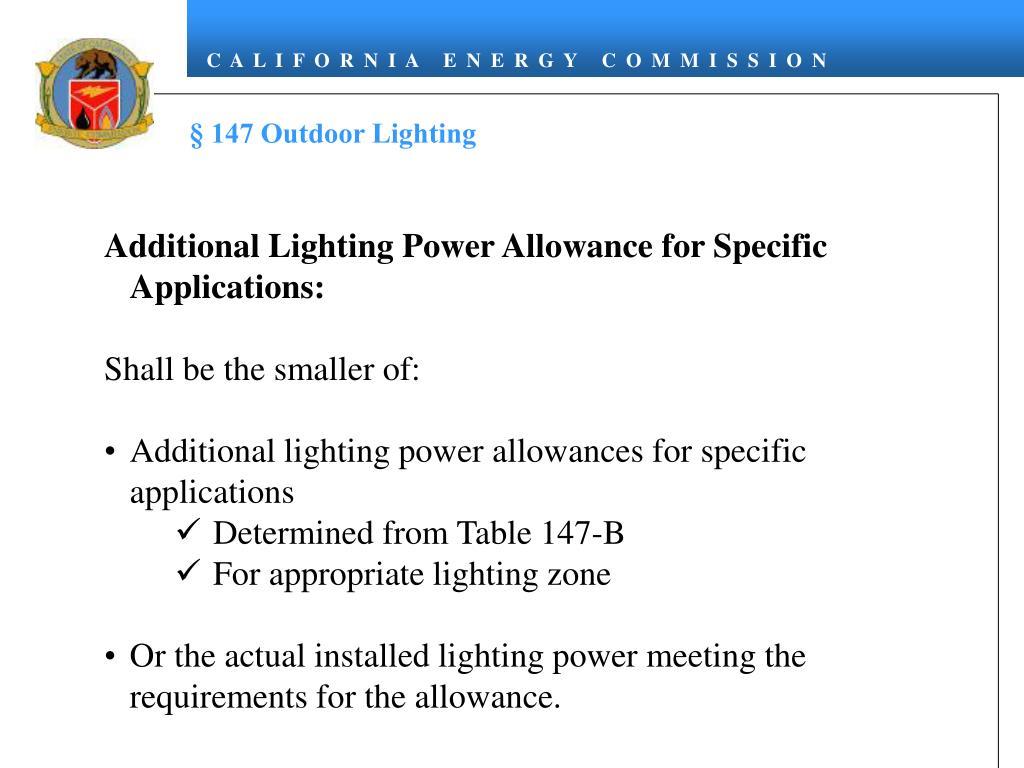 § 147 Outdoor Lighting