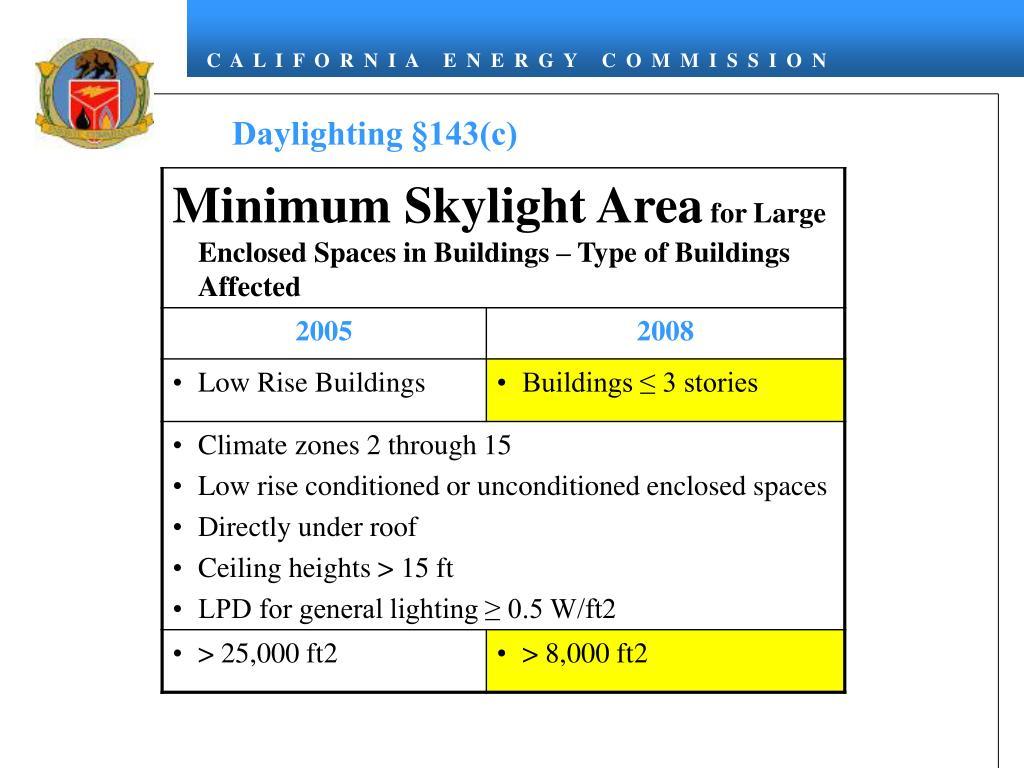 Daylighting §143(c)