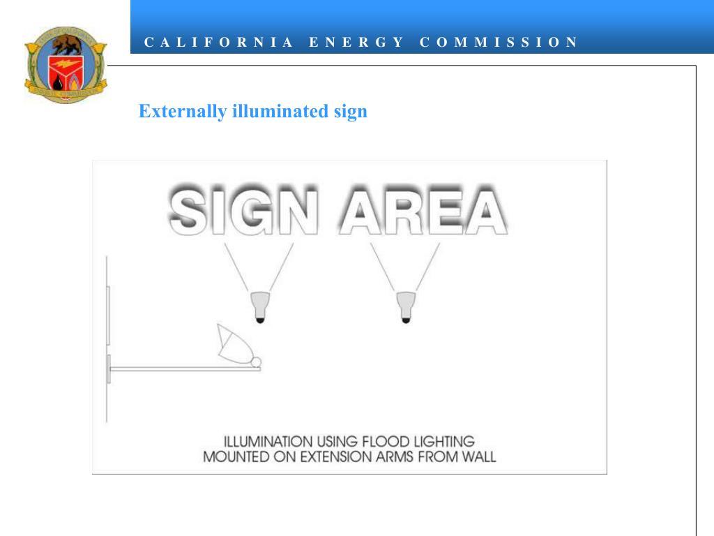Externally illuminated sign