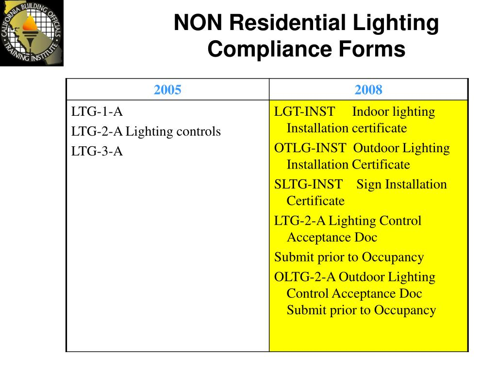 NON Residential Lighting Compliance Forms