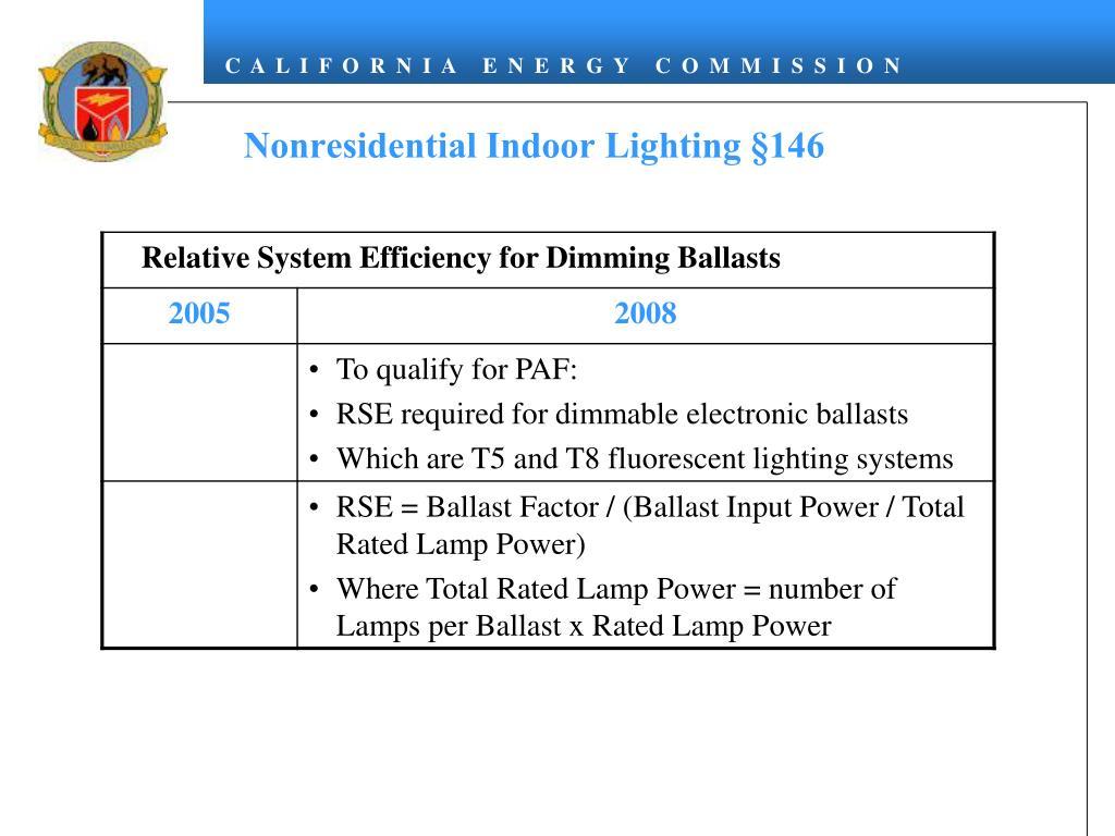 Nonresidential Indoor Lighting §146