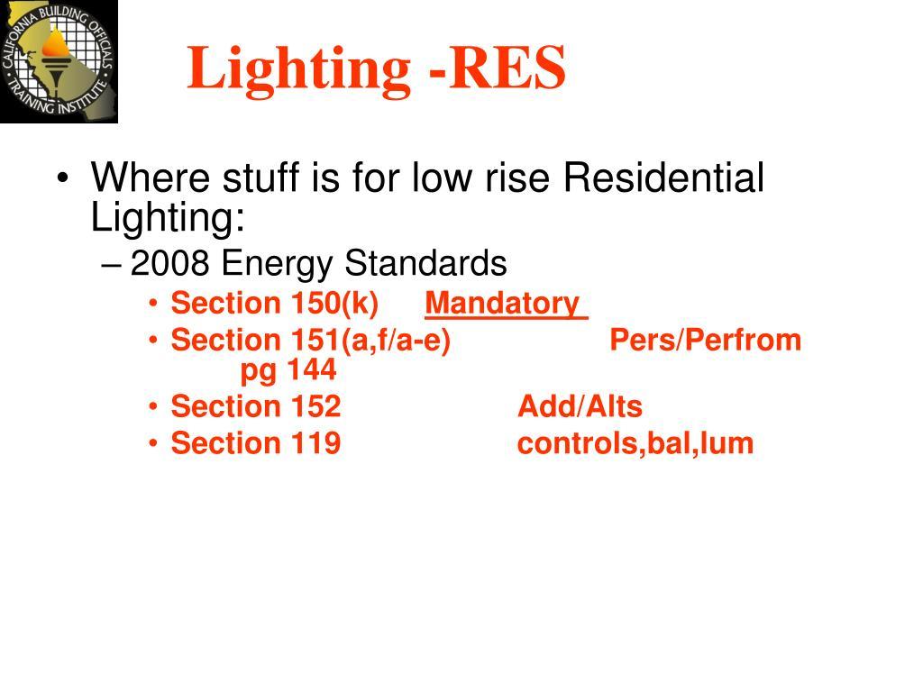 Lighting -RES