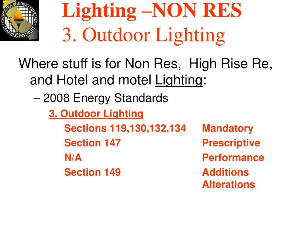 Lighting –NON RES