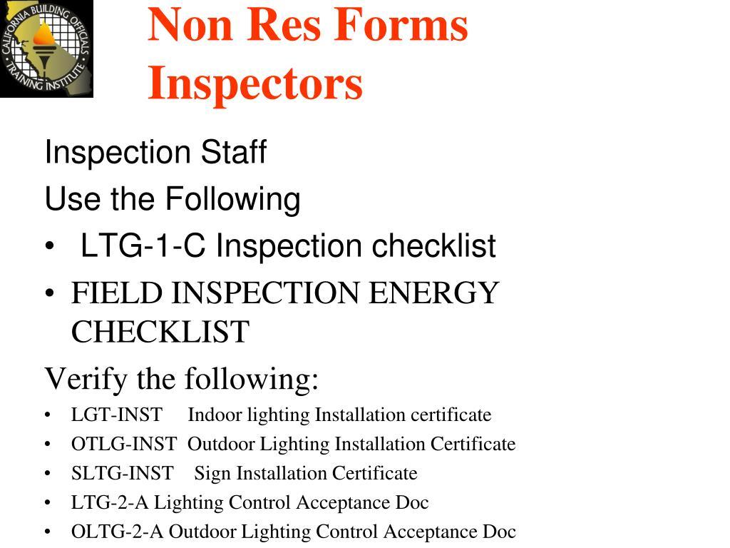Non Res Forms Inspectors
