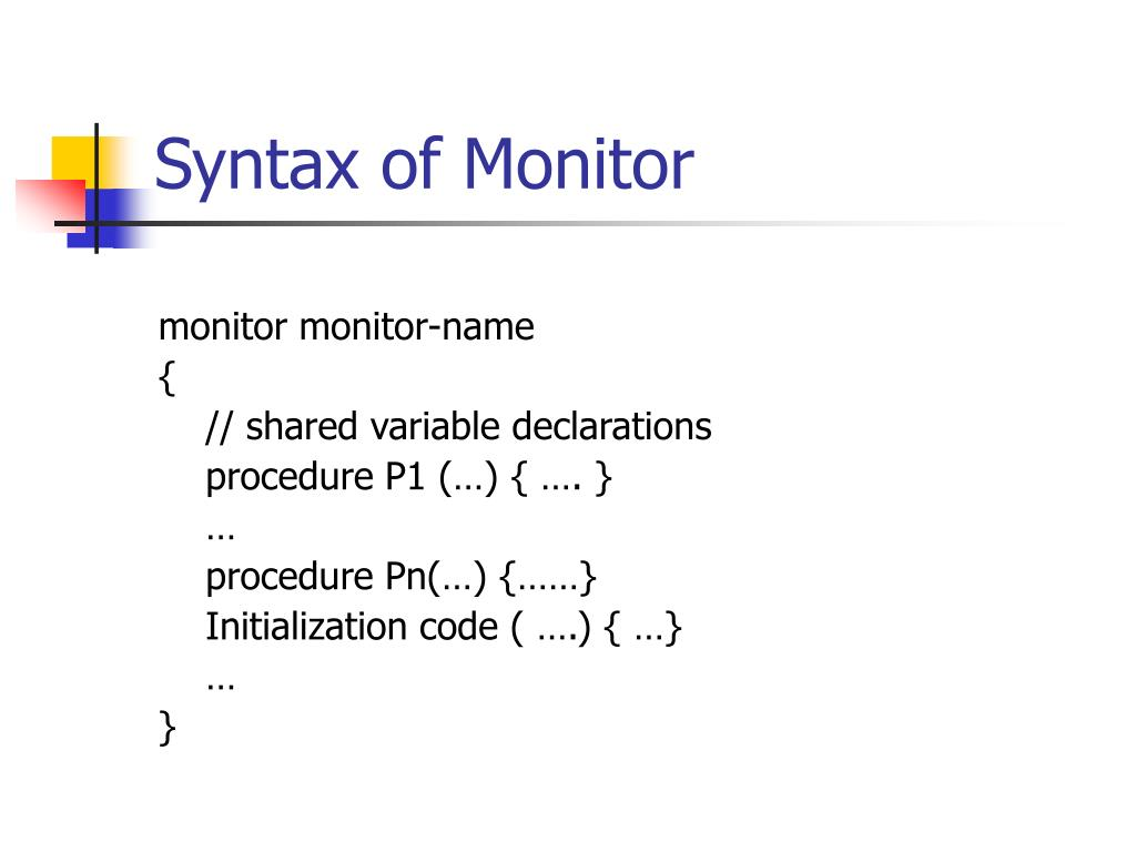 Syntax of Monitor