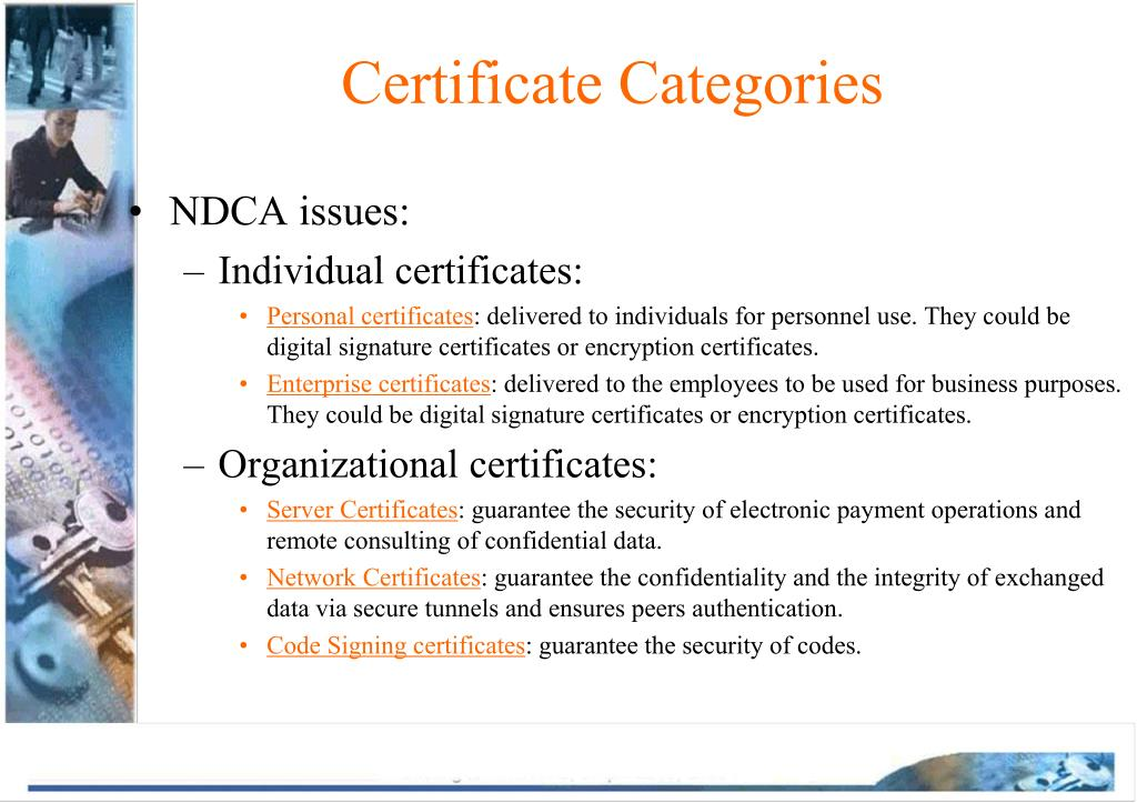 Certificate Categories