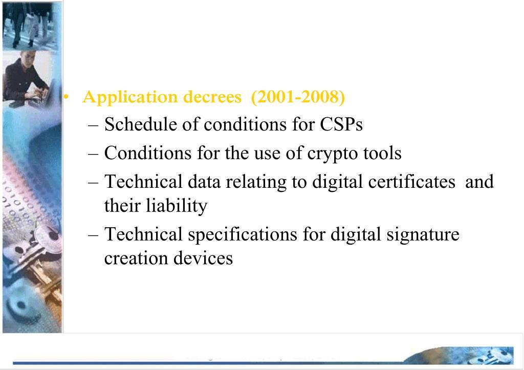 Application decrees  (2001-2008)