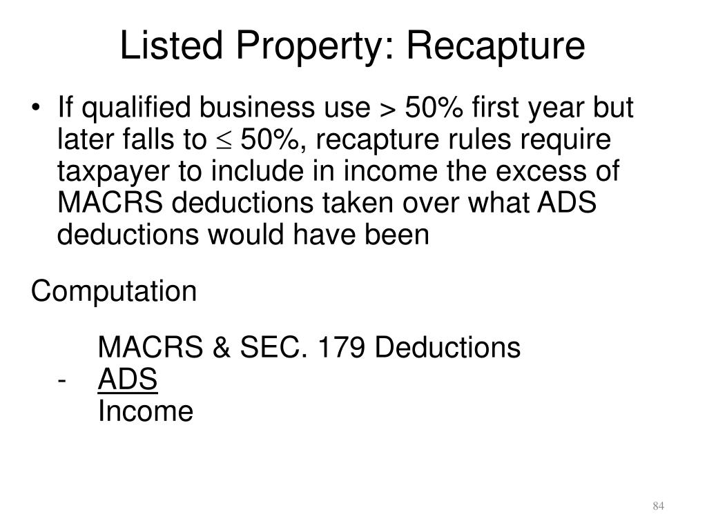 Listed Property: Recapture