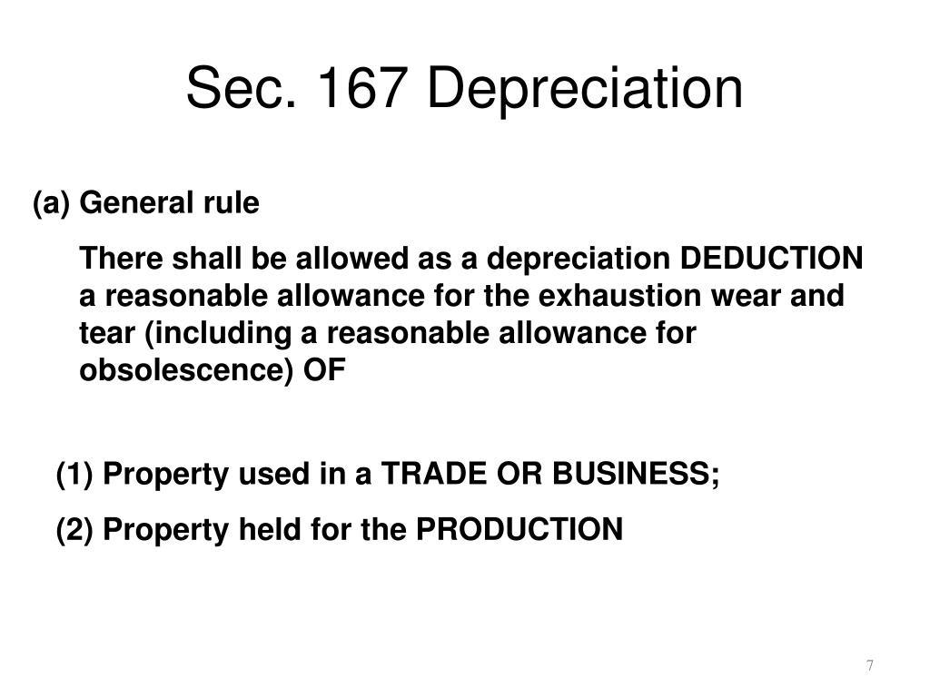 Sec. 167 Depreciation