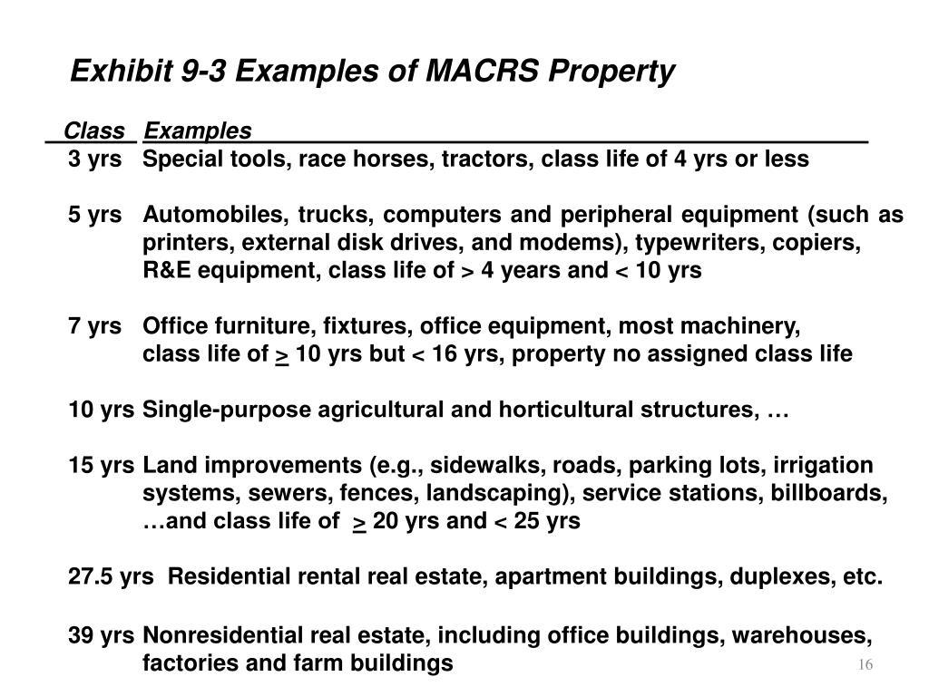 Exhibit 9-3 Examples of MACRS Property