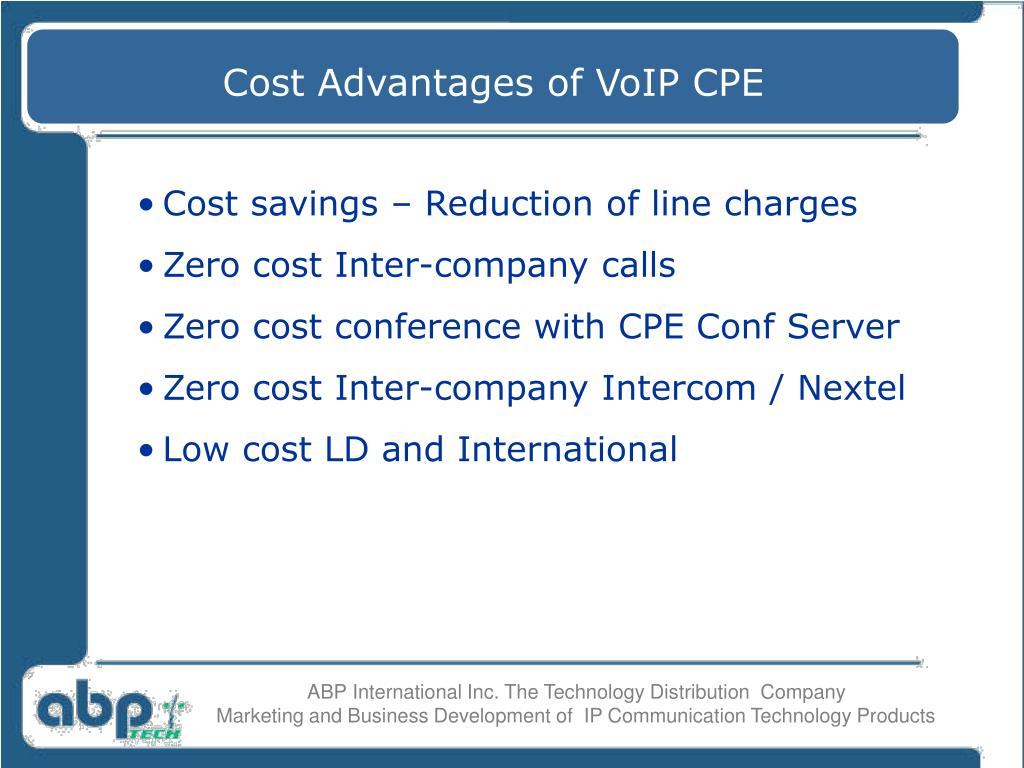 Cost Advantages of VoIP CPE