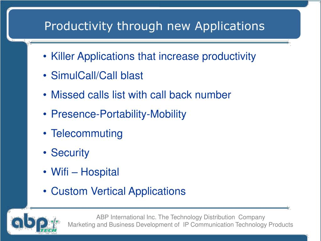 Productivity through new Applications