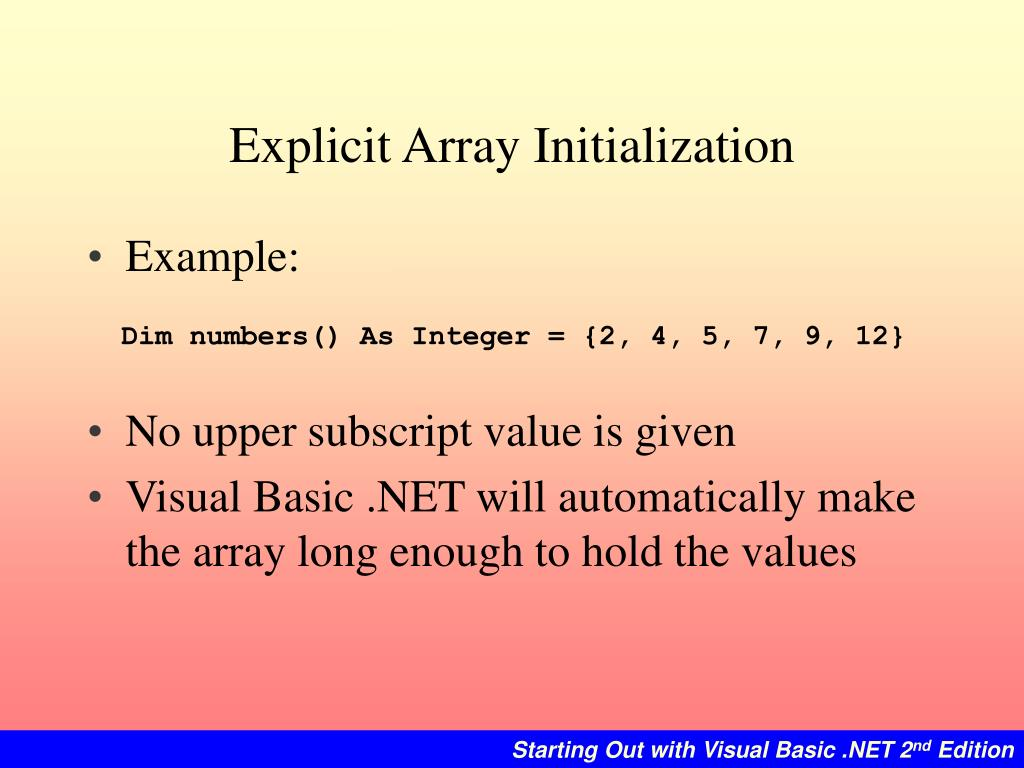 Explicit Array Initialization