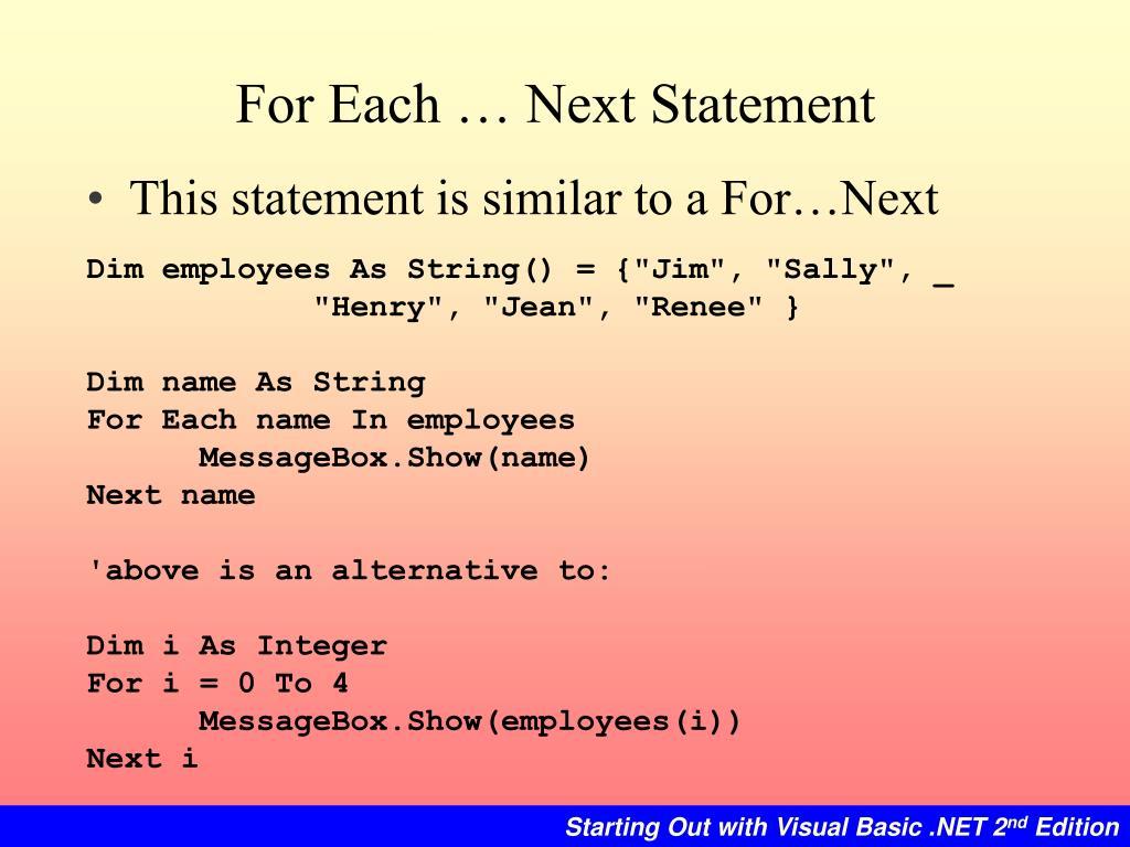 For Each … Next Statement