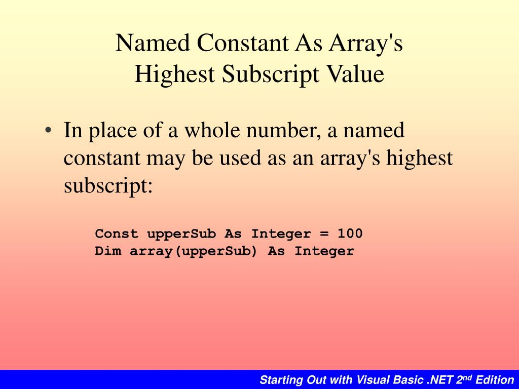 Named Constant As Array's