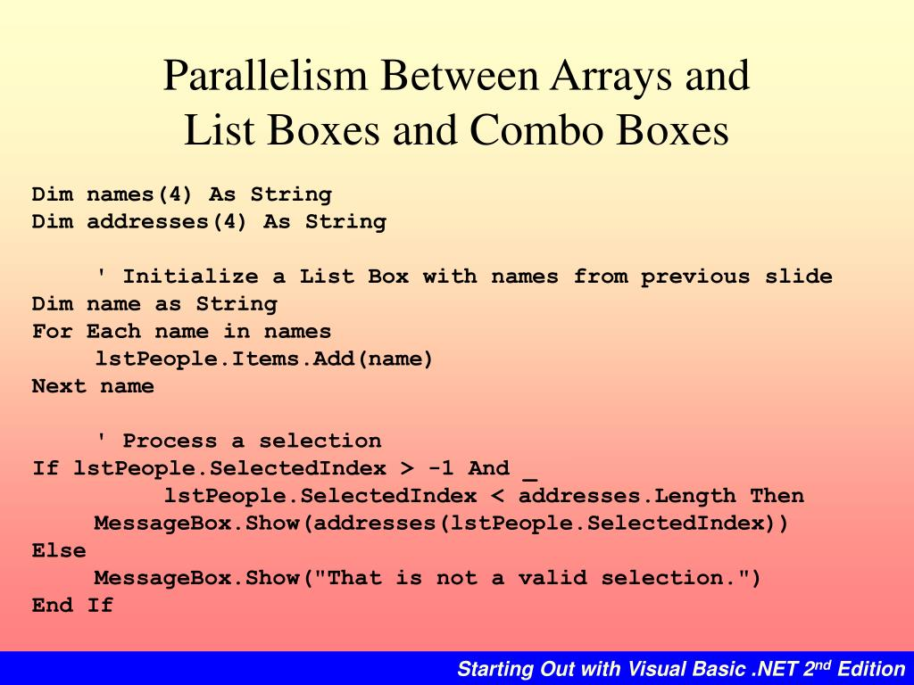 Parallelism Between Arrays and