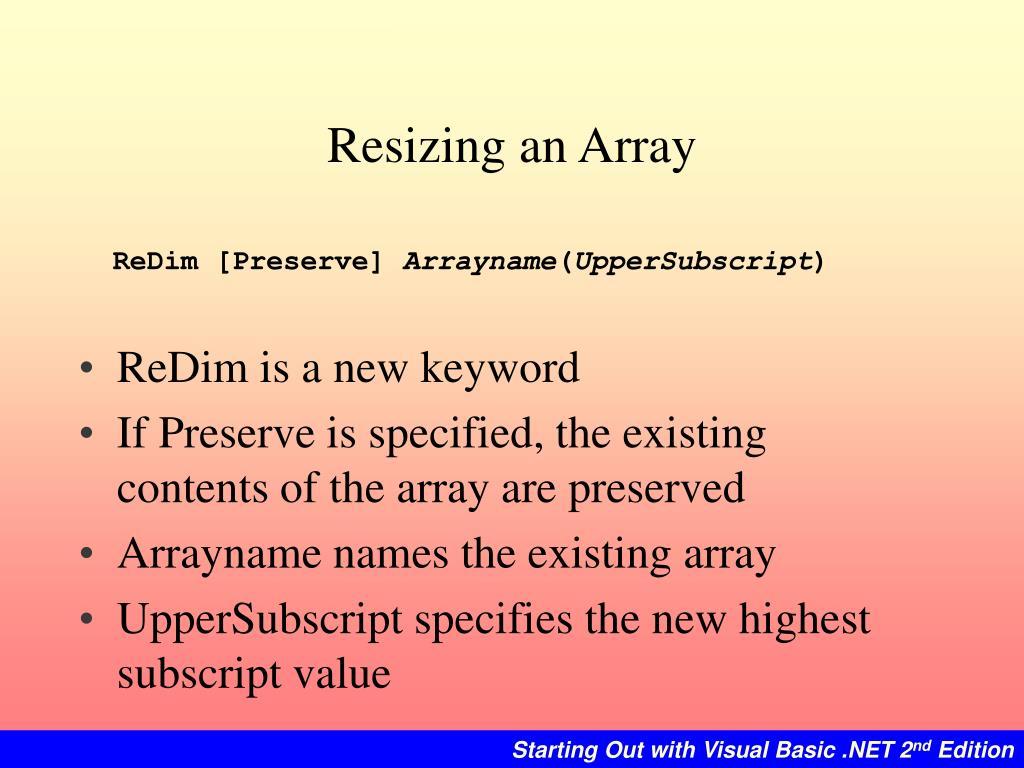 Resizing an Array