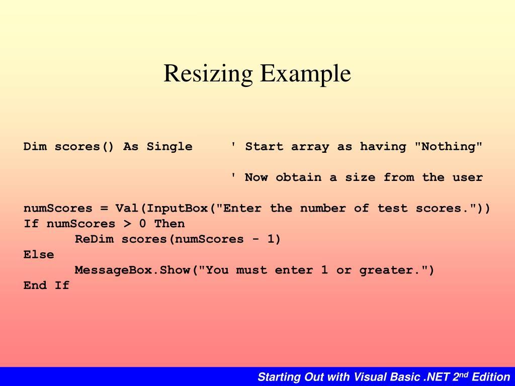 Resizing Example