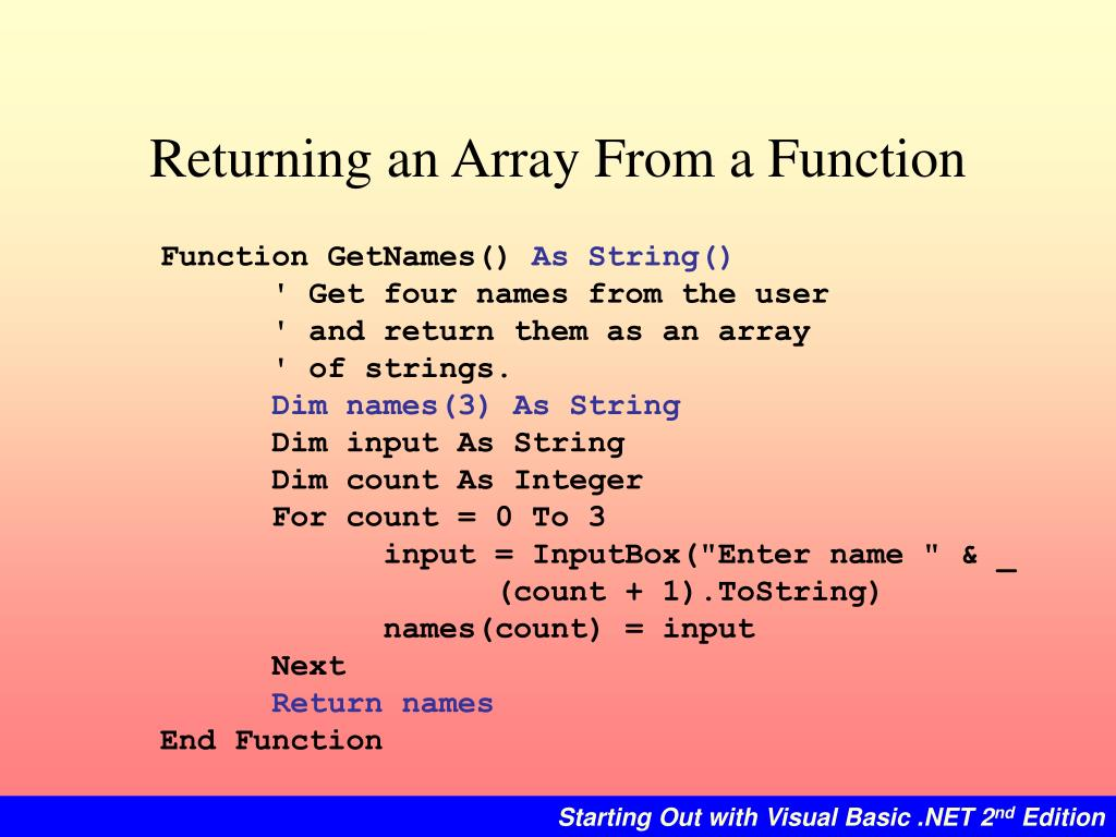 Returning an Array From a Function