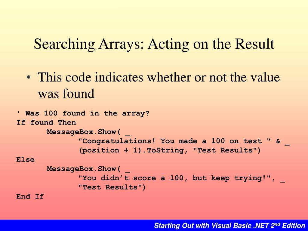 Searching Arrays: Acting on the Result