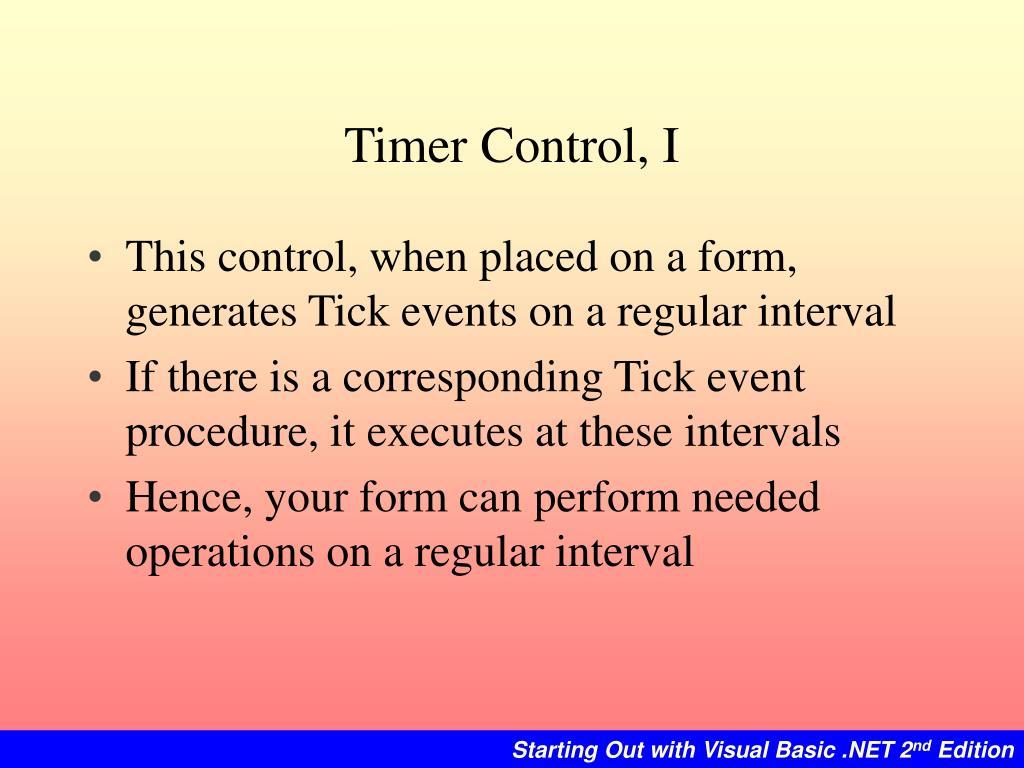 Timer Control, I