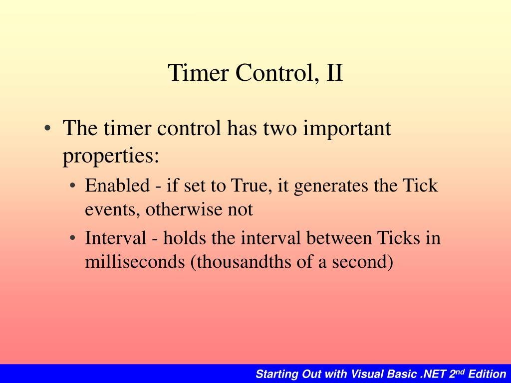 Timer Control, II