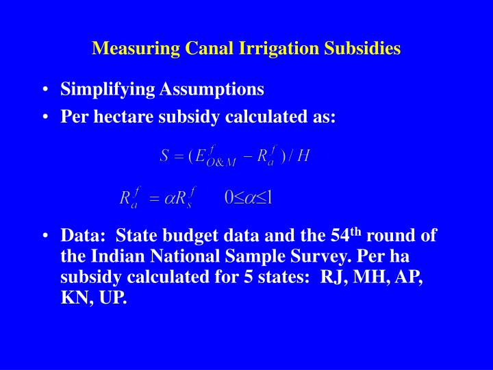 Measuring Canal Irrigation Subsidies