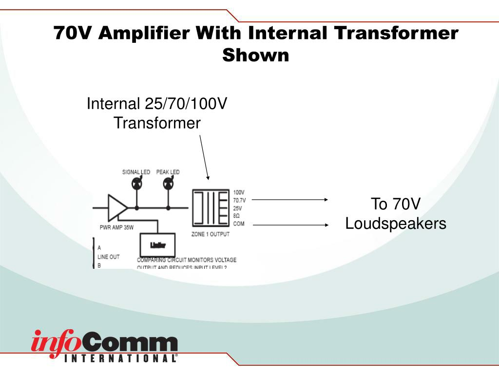 70V Amplifier With Internal Transformer Shown