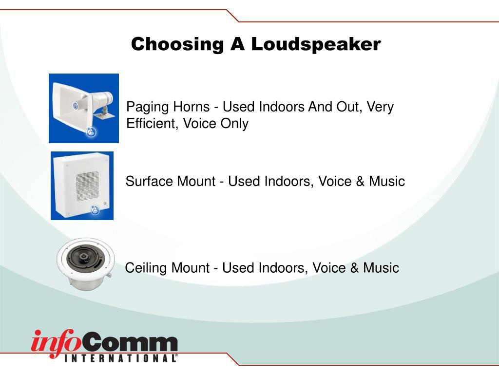 Choosing A Loudspeaker
